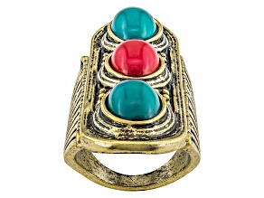 Simulant Turquoise Simulant Coral Antiqued Gold Tone Ring