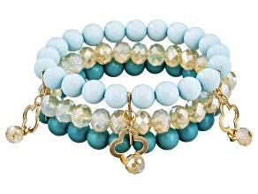Simulant Turquoise Gold Tone Beaded Charm Bracelet