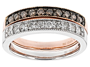Champagne And White Diamond Rhodium And 18k Rose Gold Over Silver Ring Set .74ctw