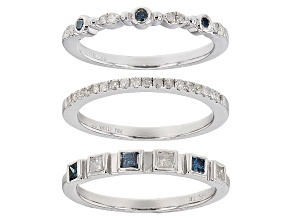 Blue And White Diamond Rhodium Over Sterling Silver Ring .57ctw