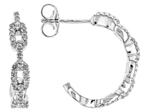 Diamond Rhodium Over Sterling Silver Hoop Earrings .45ctw