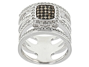 Champagne And White Diamond Rhodium Over Sterling Silve Ring .75ctw