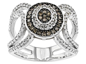 Champagne And White Diamond Rhodium Over Sterling Silver Ring .81ctw