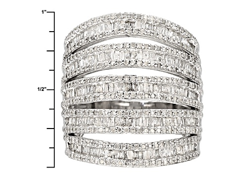 Diamond Rhodium Over Sterling Silver Ring 2.05ctw