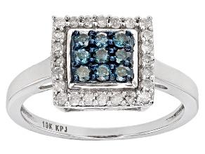 Blue Velvet Diamond™ And White Diamond .50ctw Round 10k White Gold Ring