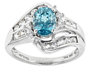 Blue Zircon 10k White Gold Ring 3.02ctw