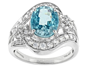 Blue Zircon 10k White Gold Ring 4.32ctw