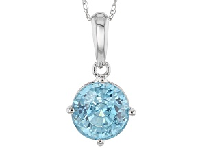 Blue Zircon 10k White Gold Pendant With Chain 1.96ct
