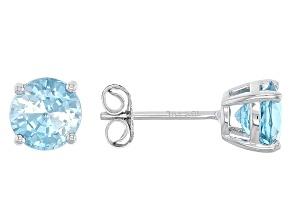 Blue Zircon 10k White Gold Stud Earrings 2.11ctw