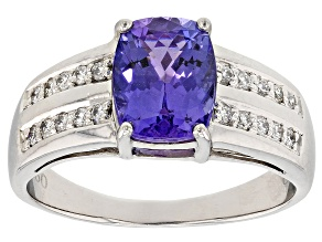 Blue Tanzanite Platinum Ring 2.44ctw