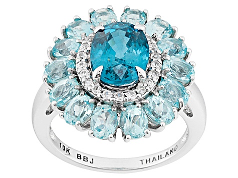 Blue Cambodian Zircon 10k White Gold Ring 5.47ctw