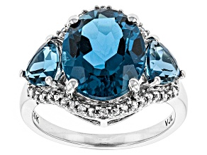 London Blue Topaz 10k White Gold Ring 4.75ctw