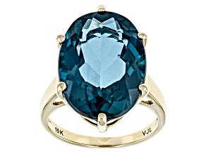 London Blue Topaz 10k Yellow Gold Ring 13.65ct