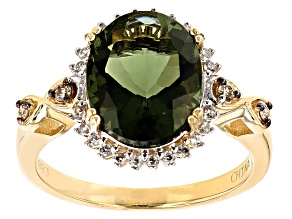 Green Moldavite 10k Yellow Gold Ring 2.68ctw