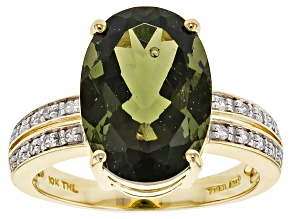 Green Moldavite 10k Yellow Gold Ring 4.59ctw