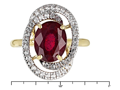 Mahaleo Ruby 10k Yellow Gold Ring 3.80ctw