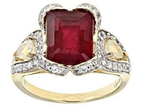 Mahaleo Ruby 10k Yellow Gold Ring 5.65ctw