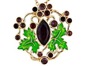 Gold Tone Glass Enamel Grape Arbor Pendant With Chain.