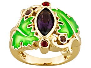 Gold Tone Purple Red Glass Green Enamel Grape Arbor Ring.