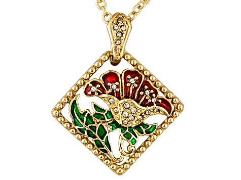 Crystal Enamel Gold Tone Flower Pendant With Chain