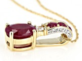 Red Ruby 14k Yellow Gold Pendant With Chain 1.57ctw