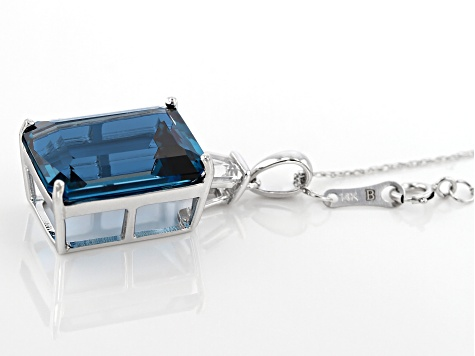 London Blue Topaz Rhodium over 14k White Gold Pendant With Chain 13.76ctw