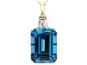 London Blue Topaz 14k Yellow Gold Pendant With Chain 13.76ctw
