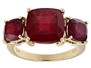 Red Ruby 10k Yellow Gold 3-Stone Ring 7.50ctw
