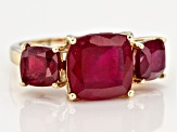 Red Mahaleo®  Ruby 10k Yellow Gold 3-Stone Ring 7.50ctw