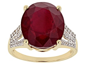 Red Mahaleo® Ruby 10k Yellow Gold Ring 10.38ctw