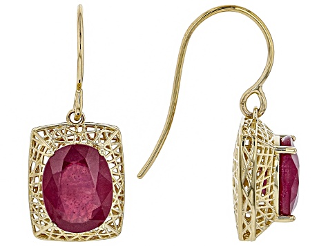 Red Ruby 10k Yellow Gold Dangle Earrings 5.94ctw