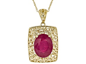 Red Ruby 10k Yellow Gold Pendant With Chain 2.08ct
