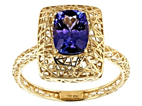 Blue Tanzanite 10k Yellow Gold Ring 1.14ct.