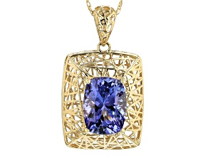 Blue Tanzanite 10k Yellow Gold Pendant With Chain 1.28ct.