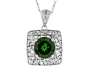 Green Chrome Diopside Rhodium Over 10k White Gold Pendant With Chain
