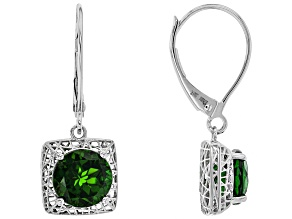 Green Russian Chrome Diopside Rhodium Over 10k White Gold Dangle Earrings 2.46ctw