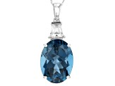 London Blue Topaz  Rhodium Over 14k White Gold Pendant With Chain 9.59ctw