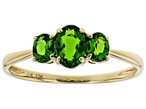 Green Chrome Diopside 10k Yellow Gold Ring .77ctw