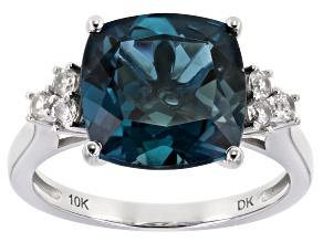 London Blue Topaz 10k White Gold Ring 5.98ctw