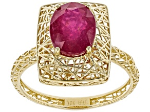 Red Ruby 10k Yellow Gold Ring 2.76ct