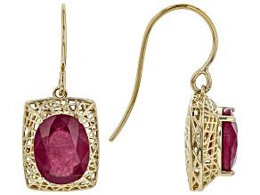 Red Ruby 10k Yellow Gold Dangle Earrings 6.98ctw