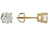 White Lab-Grown Diamond 14k Yellow Gold Earrings 2.00ctw