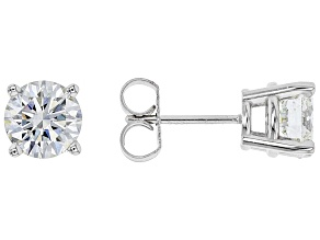 White Lab-Grown Diamond 14k White Gold Earrings 2.00ctw