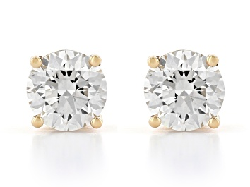 Picture of White Lab-Grown Diamond 14k Yellow Gold Earrings 2.00ctw