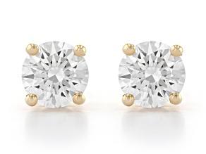 White Lab-Grown Diamond 14K Yellow Gold Stud Earrings 1.00ctw