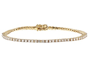 White Lab-Grown Diamond 14K Yellow Gold Bracelet 3.00ctw