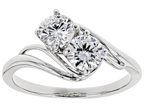 White Lab-Grown Diamond 14K White Gold 2-Stone Ring 1.00ctw