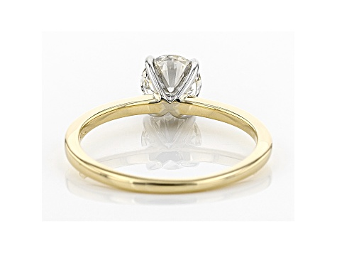 White Lab-Grown Diamond 14K Yellow and White Gold Solitaire Ring 1.00ctw
