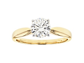 White Lab-Grown Diamond 14K Yellow Gold Solitaire Ring 1.00ctw