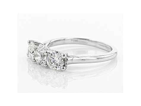 White Lab-Grown Diamond 14K White Gold 3-Stone Ring 1.50ctw